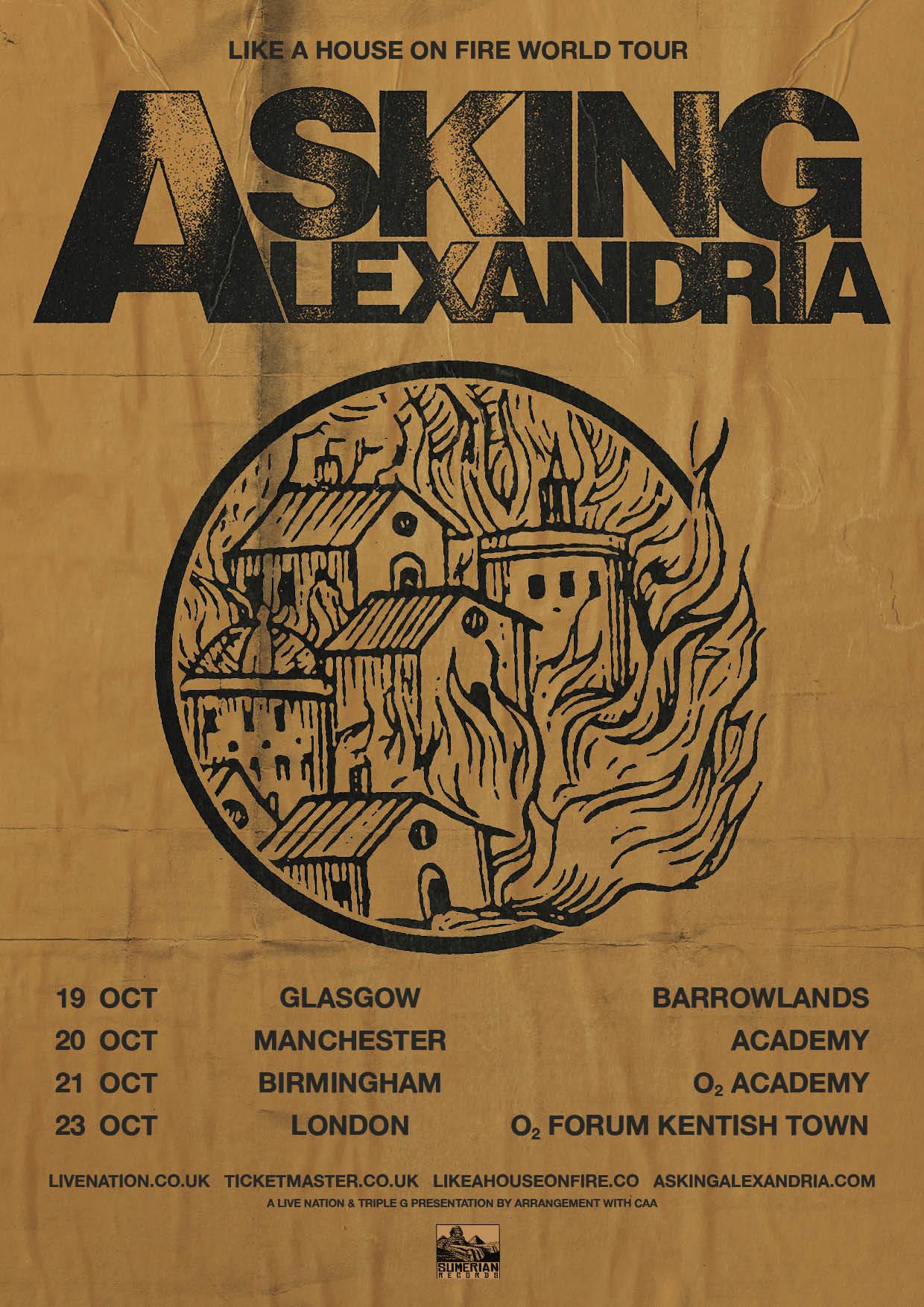 Asking Alexandria UK Tour 2020